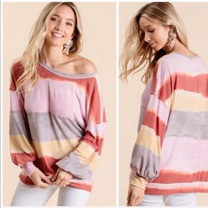 Tops - 💃🏻Color Stripes Relaxed Fit long sleeve Top